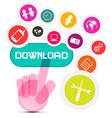 Internet Social Media Symbol - Hand Icon Pushing vector image