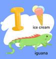 letter i from children s alphabet vector image
