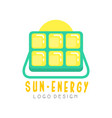 logo design with solar battery for producing eco vector image vector image