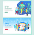 merry christmas people celebrating winter holiday vector image vector image