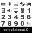 multimedia icon set 2 gray icons on white vector image vector image