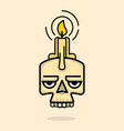 old skull with wax candle on head vector image vector image