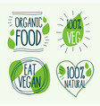 organic and vegan food labels in doodle style vector image