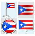 Puerto Rico flag - sticker button label vector image vector image