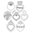 sacred heart doodle set vector image vector image