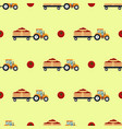 seamless pattern with flat yellow tractor with a vector image vector image