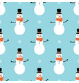 seamless pattern with snowman and snowflakes vector image vector image