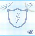 secure shield with lightning line sketch icon vector image vector image