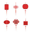set chinese lamps tradition decoration vector image