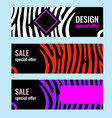 set horizontal color banners with white stripes on vector image vector image
