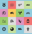 set of 16 editable complex icons includes symbols vector image vector image