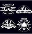 set vintage snowboarding ski or winter sports vector image vector image