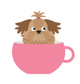Shih Tzu dog sitting in pink cup Cute cartoon vector image vector image