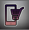 shopping on smart phone sign violet vector image vector image