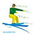 Ski slopestyle freestyle skier jumps vector image