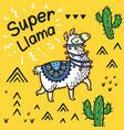 super llama cute cartoon llama card vector image vector image