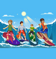 surfers on beach vector image vector image