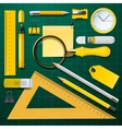 Yellow school supplies with green background vector image vector image