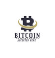 bitcoin accepted emblem crypto currencies label vector image