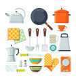 kitchen tools for cooking cartoon vector image