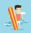 surfer holding surfboard vector image