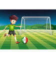 A boy kicking the ball with the flag of Mexico vector image vector image