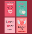 a set greeting cards for valentines day vector image vector image