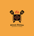 african cultural kitchen restaurant logo icon vector image vector image