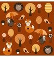 autumn forest with animals vector image