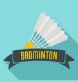 badminton emblem logo flat style vector image vector image