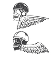biker theme label with wings and skulls vector image vector image