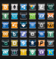 black rounded square icons with cryptocurrency vector image