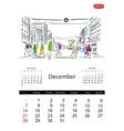 Calendar 2014 december Streets of the city sketch vector image vector image
