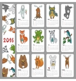 calendar 2016wild animals woodland doodles vector image