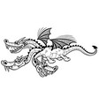 cartoon dragon line art vector image vector image
