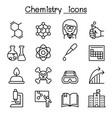 chemistry icon set in thin line style vector image