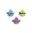 colorful liquid water droplet juice logo design vector image