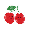 couple in love cherries with faces funny vector image vector image