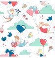 cute characters flying heart balloons seamless vector image