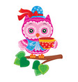 Cute owl in a hat sits on a branch and drinks tea