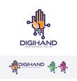 digital hand logo design vector image