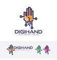 digital hand logo design vector image vector image