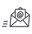email line icon mail and letter mail envelope vector image