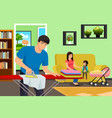 father ironing clothes while mother and kids vector image vector image