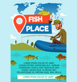 fisher catch on fishing place poster vector image vector image