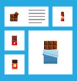 flat icon chocolate set of cocoa sweet bitter vector image vector image