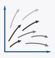 Flat icon on stylish background arrow chart vector image