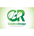 gr green leaf letter design logo eco bio leaf vector image vector image