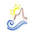 hand drawn mountain with sun and wave vector image vector image
