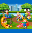happy children playing in the school playground vector image vector image